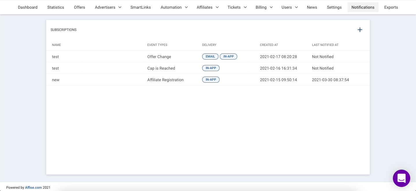Affise Releases Notification System